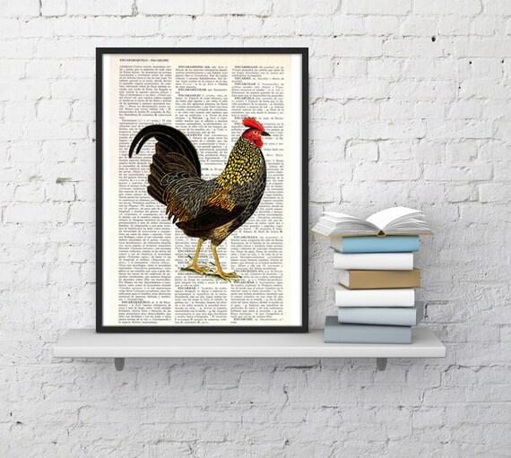 Chicken, Wall art, Wall decor, Digital prints animal,  Vintage Book sheet, Nursery wall art, Prints, Wholesale , ANI127