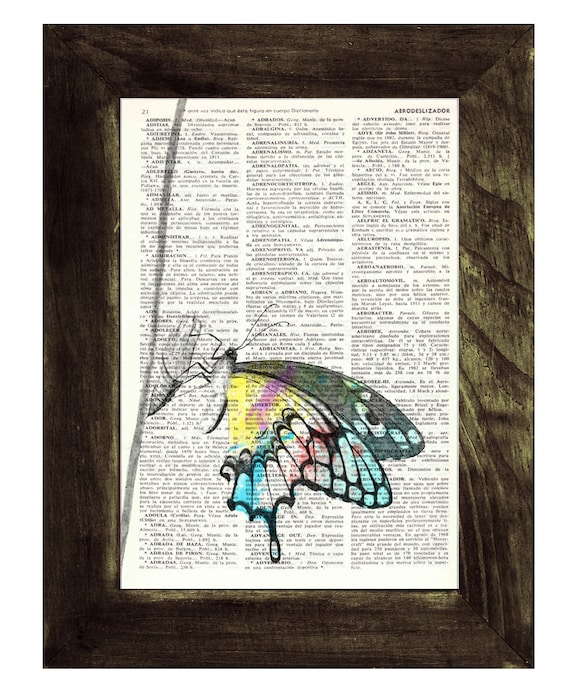 Butterfly  Book print art - colorful Butterfly - Upcycled book page Art Dictionary book print BFL103