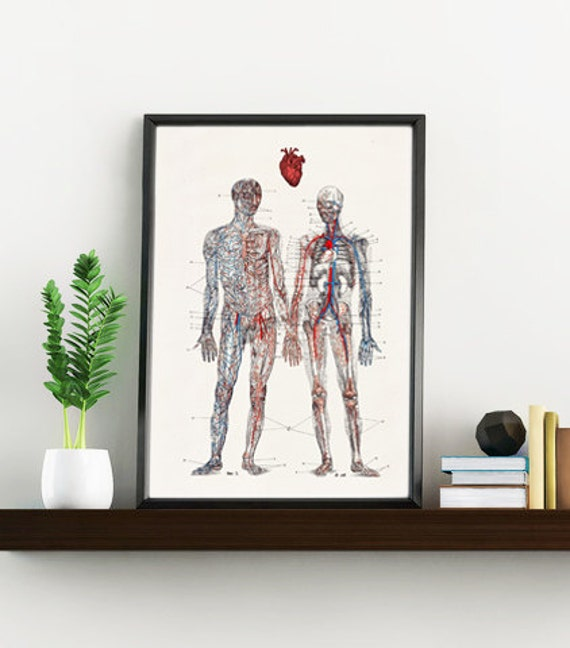 Love you with all my heart- First aniversary gift. Anatomy Print - Husband gift - Anatomy poster print SKA167WA4