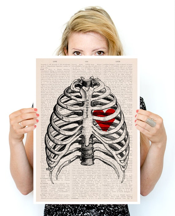 My heart on a rib cage Poster,  Anatomy art, Wall art, Wall decor,  art, medical student gift,  art,  SKA019PA3