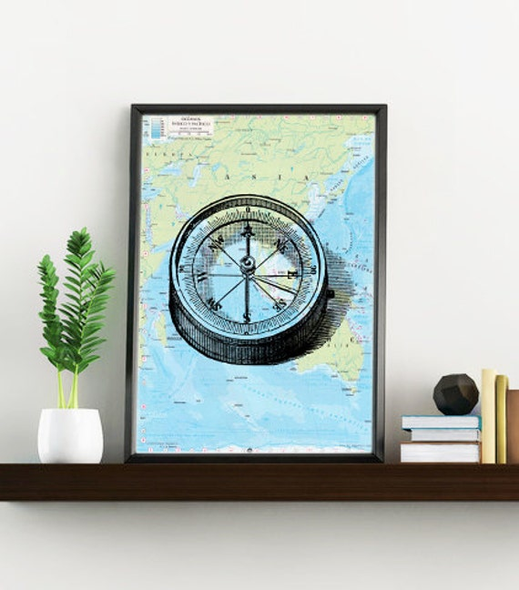 Vintage simple compass print on Map Original map Compass Print on Vintage atlas, Wall art marine  wall decor  SEA025