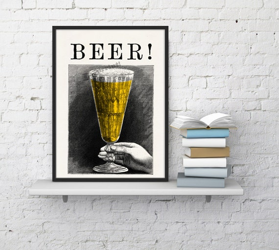 Fathers day gift BEER! Old engraving poster Print, Wall art decor, Art and collectibles, Beer art,  beer, TYQ029WA4