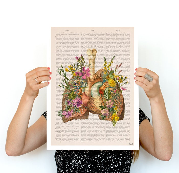 Flowery lungs Poster, anatomy art, wall art, wall decor, poster ...