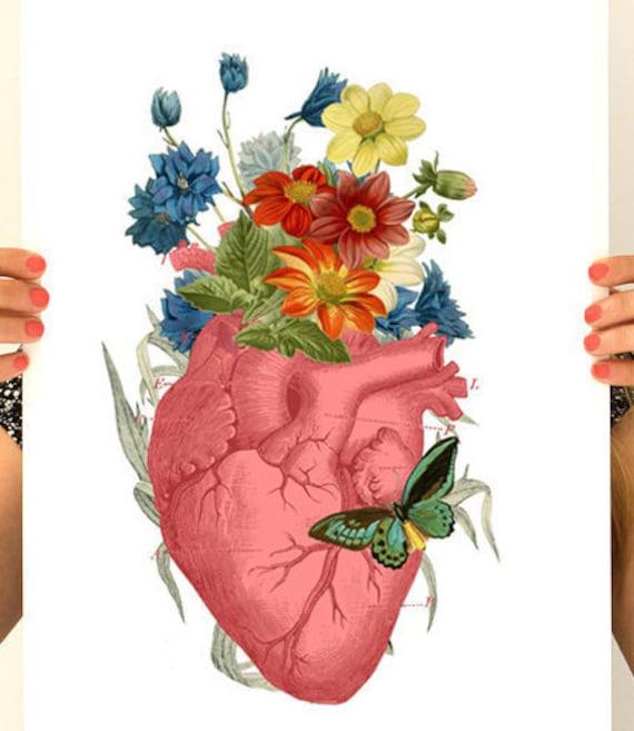 Pink Flower Heart, anatomy art,  wall art, wall decor, poster, anatomy,  medical art, human heart, SKA088WA3