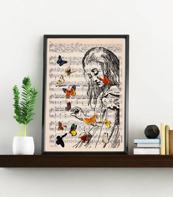 Alice in wonderland wall art print Wall art home decor Alice playing with butterflies ALW044MSL