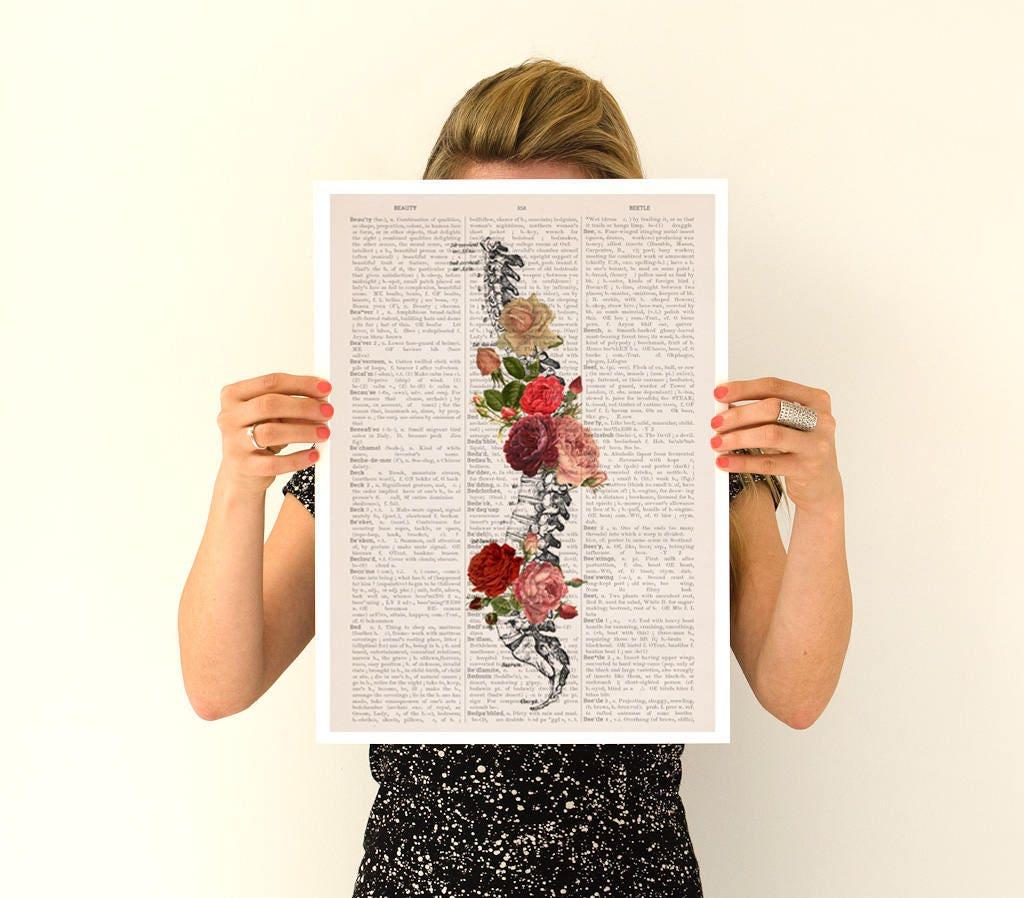 Springtime Spine, anatomical art, anatomy art, wall art, wall decor ...