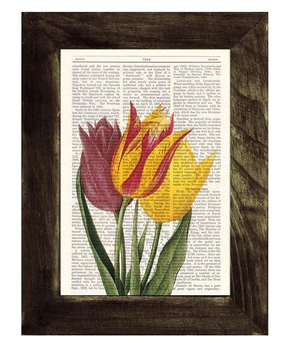 Christmas gifts for mom Vintage Tulips Dictionary or Encyclopedia Page Print Book print Tulip botanical studio print on Book BFL064