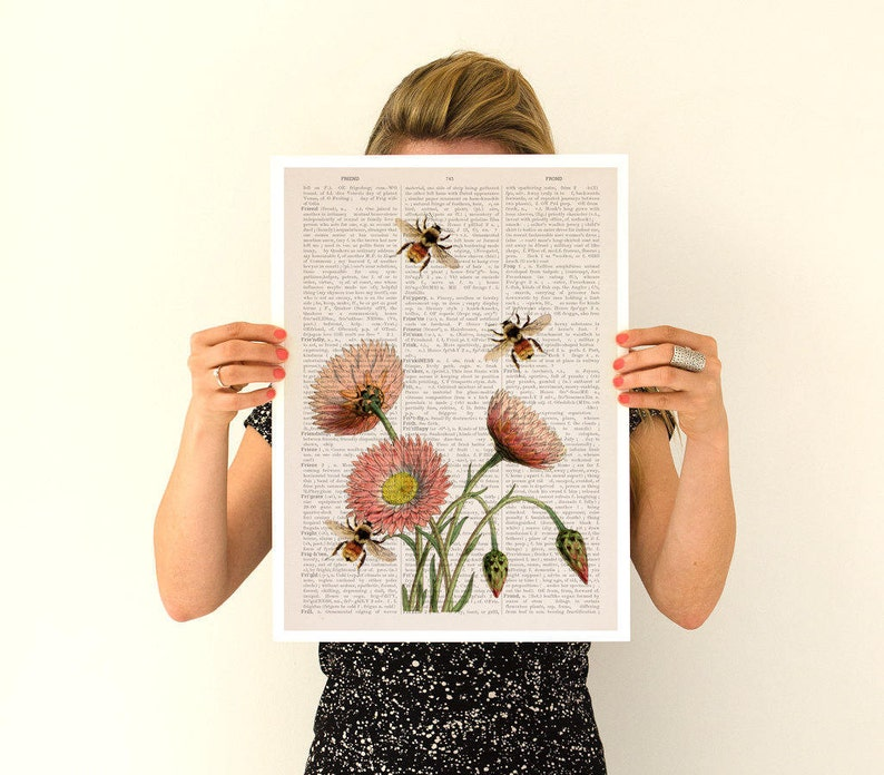 Bees and wild flowers Flower art Eco Wall art poster Spring image 0