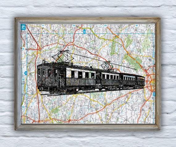 Christmas gifts for her Old train on Original France Roads Map Vintage Print, Art Print map Locomotive art  Print on Vintage map  TVH097