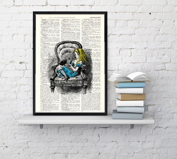 Alice in wonderland Vintage Book Print book Print Alice in Wonderland Alice takes a nap Print ALW009