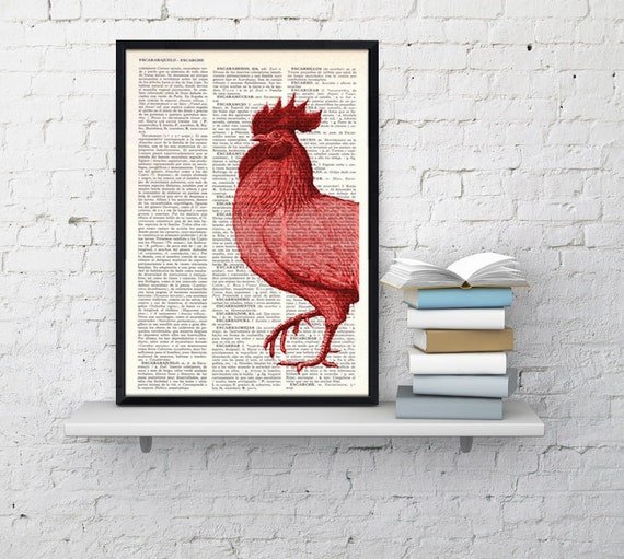 Red cock, Wall art, Wall decor,   Vintage Book sheet, Nursery wall art, Prints, wholesale,  ANI128