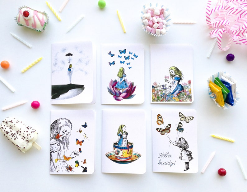 Beautiful Alice Notecards. Set of six designs of Alice in image 0