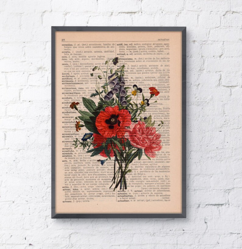 Wall decor Floral Bouquet Print Dictionary print flower on image 0