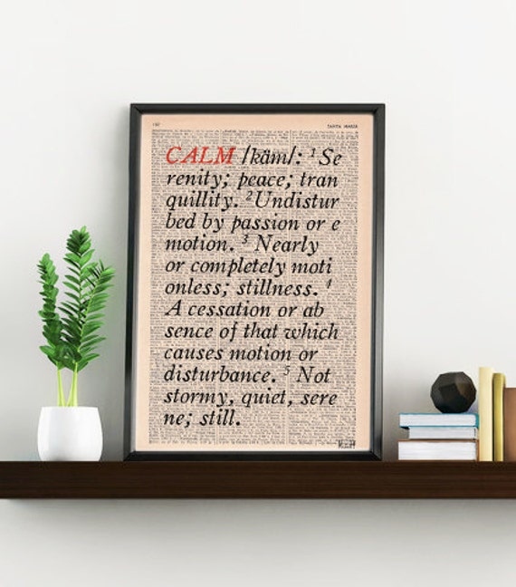 Calm Dictionary description typography art print Dictionary book page art Altered art TYQ039