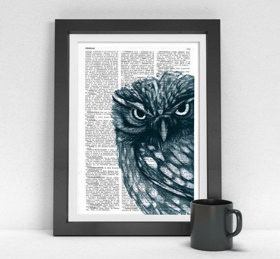 Christmas gifts for her Owl, Wall art, Wall decor,   Vintage Book sheet, Nursery wall art, Prints, Wholesale , ANI023