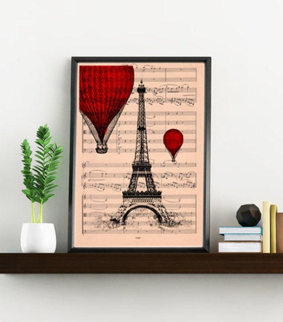 Eiffel tower with Red balloon printed over music sheet perfect for Christmas gifts TVH027MSM