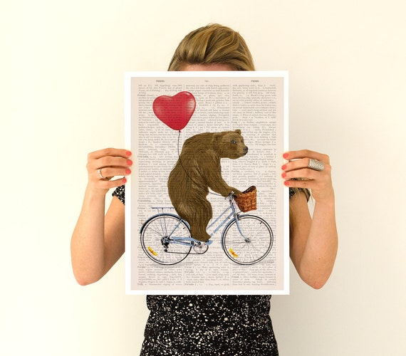 Bear art, Grizzly bear riding a bike poster, Nursery Wall decor, Wall art, Funny poster,  ANI222PA3