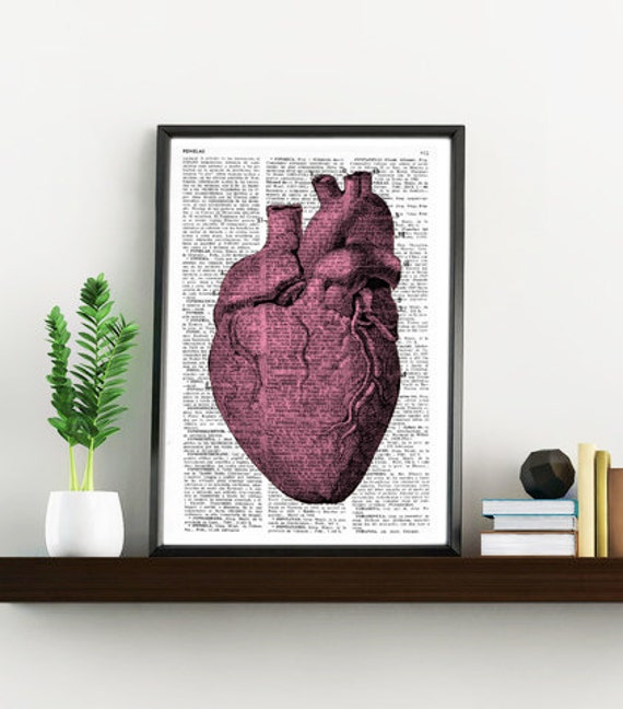 Christmas gifts for her Upcycled Dictionary Page Upcycled Book Art Upcycled Art Print Upcycled Book Print Vintage Heart Anatomy SKA033