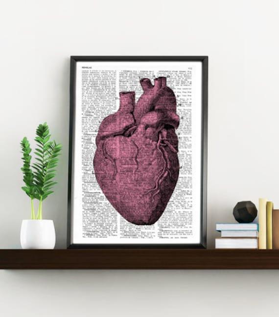 Upcycled Dictionary Page Upcycled Book Art Upcycled Art Print Upcycled Book Print Vintage Heart Anatomy SKA033