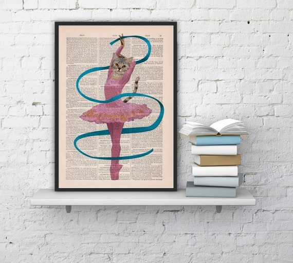 Funny ART Ballerina cat, Wall art, Wall decor,   Vintage Book sheet, Nursery wall art, Prints, Wholesale ANI063