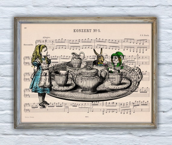 Alice in wonderland  Tea time with friends Print Dictionary page Nursery wall artGiclee print Unique gift ALW019MSH
