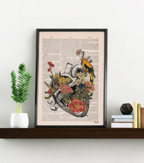 Flowery Heart with bird. Anatomy Print - digital,Anatomy art, love wall art, human science & anatomy art SKA110