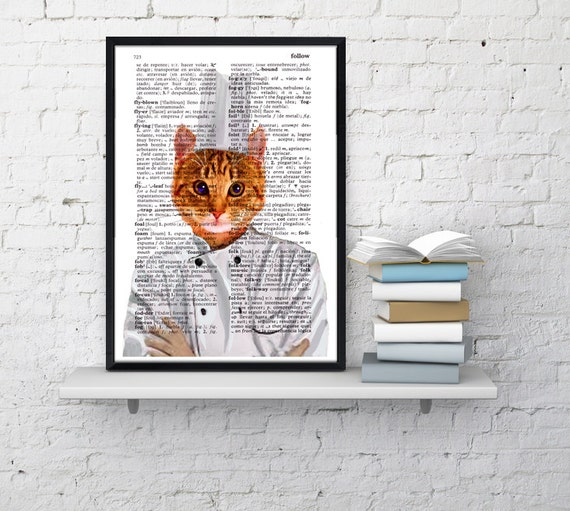 Chef cat, Wall art, Wall decor,   Vintage Book sheet, Nursery wall art, Prints, Wholesale , Funny art,  ANI061