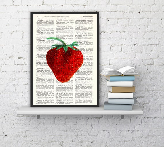 for mom Strawberry Wall decor giclee art print, Kitchen Wall art Simple strawberry Book print Red strawberry BFL093