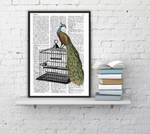 Peacock over cage  on, Wall art, Wall decor,   Vintage Book sheet, Nursery wall art, Prints,  ANI150