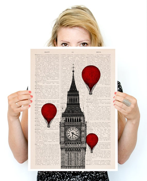 Big ben and a ballon ride poster, London Art, Wall art, Wall decor, England art poster, Giclee poster, Wholesale, Poster art,  TVH009PA3