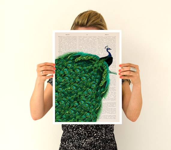 Christmas gifts for mom Endless tail Peacock poster, Eco friendly art, Peacock art, Birds art ,animal poster A3 size, wall art, ANI149PA3
