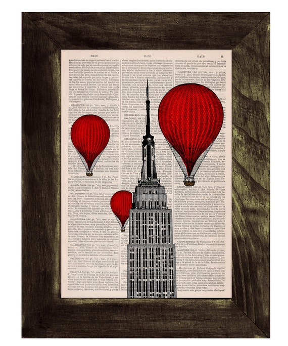 Christmas gifts for her Vintage Book Print - New York Empire State Building Balloon Ride Print on Vintage Book TVH091