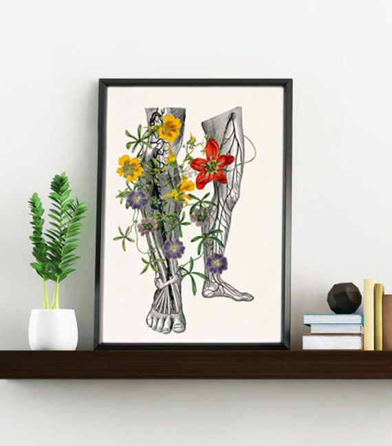 Wild flowers on my legs Nature and Science, Anatomy art, Anatomical art, Wall art, Wall decor, Anatomy, Wholesale, Gift for doctor SKA096WA4
