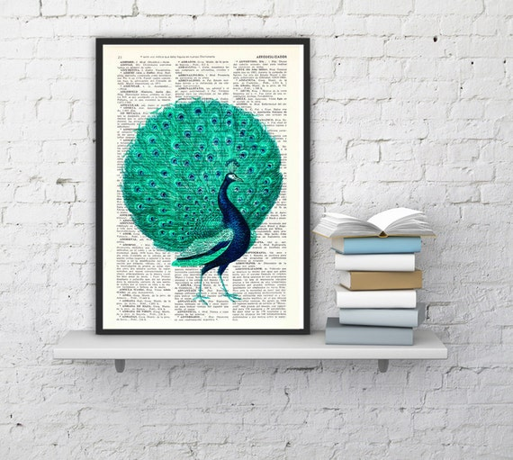 Peacock with seafoam tail, Wall art, Wall decor,   Vintage Book sheet, Nursery wall art, Prints, ANI155