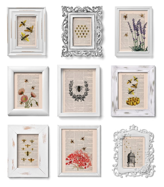 Christmas gifts This selection is a Perfect Gift Book prints SALE  for ONLY fifty dollars Bees collection of Prints on Dictionary SET012