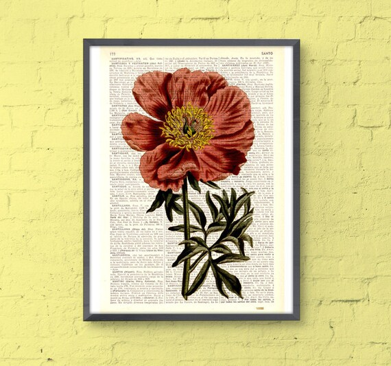 Peony in coral pink printed on Dictionary Page home decor wall hanging flower Peony flower wall decor  BFL108