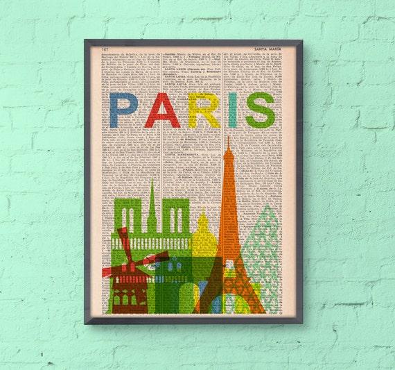 Paris skyline print art -Vintage Book Print - Paris Skyline Print on Vintage Book art TVH032