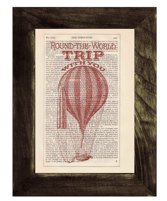 Christmas gifts for her Dictionary print Love trip, Hot air Balloon Print on Vintage Book, mixed media art, Wall art, Wall decor   TVH144