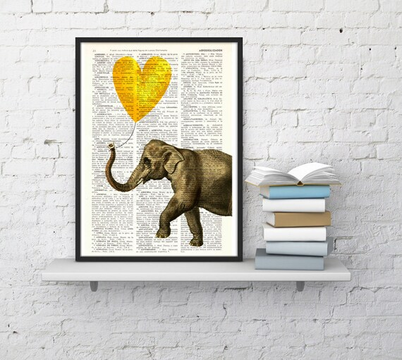 Elephant, Wall art, Wall decor, Digital prints animal, Giclée, Vintage Book sheet, Nursery wall art, Prints, Dorm Decor, ANI215