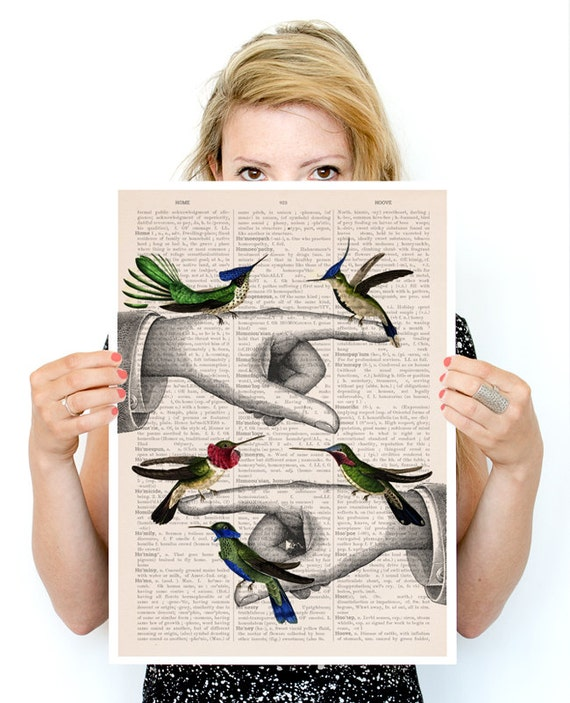 Hummingbirds on pointing hands, Bird art, Funny animal art, Wall art poster, Wall decor,  hummingbirds art ANI111PA3