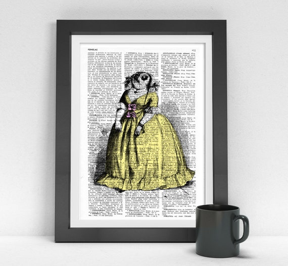 Madame 0wl, Wall art, Wall decor,   Vintage Book sheet, Nursery wall art, Prints, Owl prints ANI033