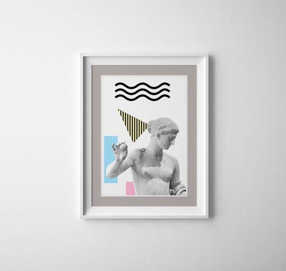 Greek torso Statues. Classical art decoration, Revised classical art, Modern Greek style art, A3 Poster, Geometrical wall decor,  SKA229WA3