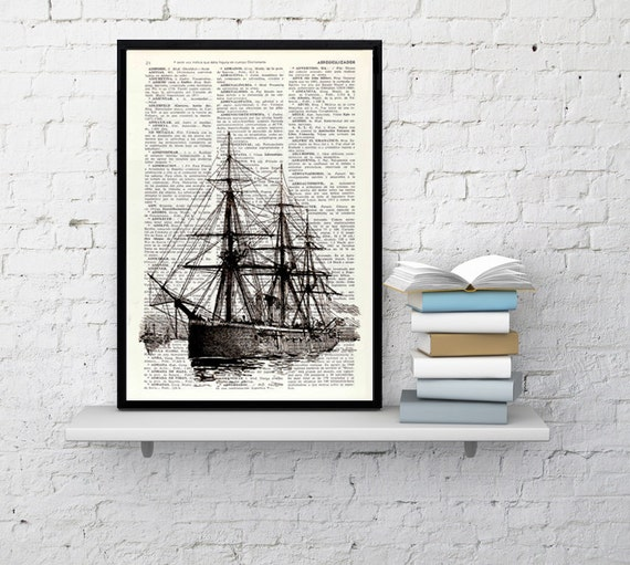 Christmas gifts for mom Old ship II antique illustration printed on Dictionary sheet  Ship art Print seaside art, wall decor SEA092