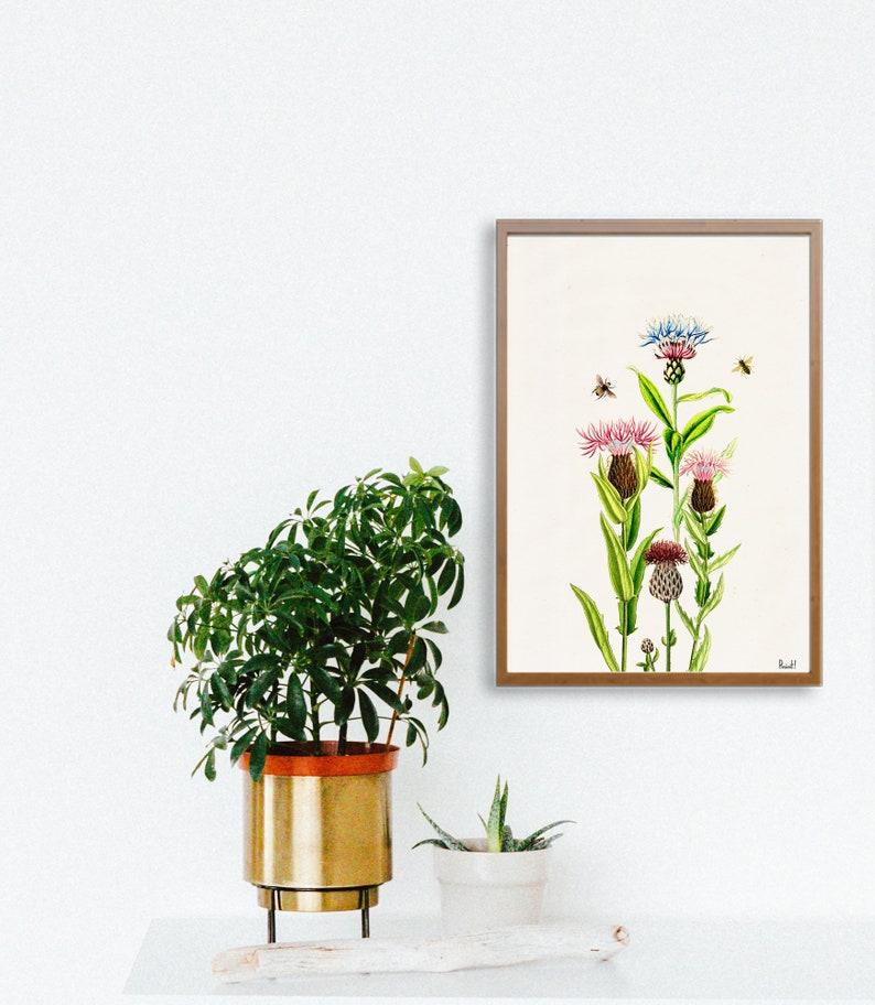 Bees with cardoon flowers Print  Housewarming Gift  Bee Wall image 0