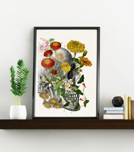 Wild flowers on Skull Right side Anatomy art  SKA094WA4