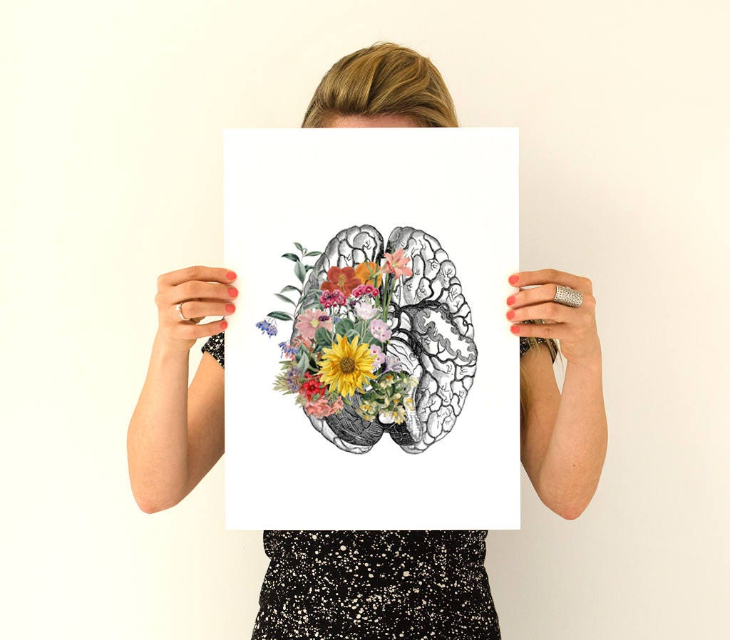 Springtime brain, anatomy art, anatomy Giclee poster, brain art ...