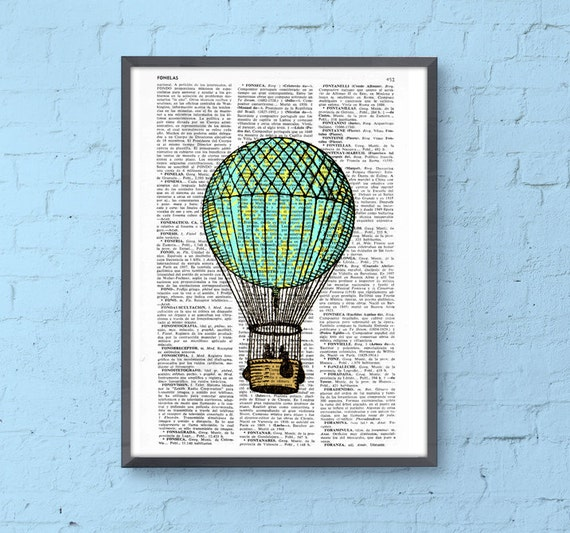 Classic Hot air balloon in turquise and yellow Wall Decor the best choice for Christmas gifts TVH127b