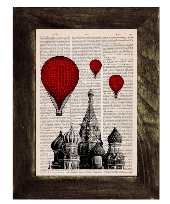 Vintage Book Print - Moscow Saint Basils Balloon Ride Print on Vintage Book art TVH043
