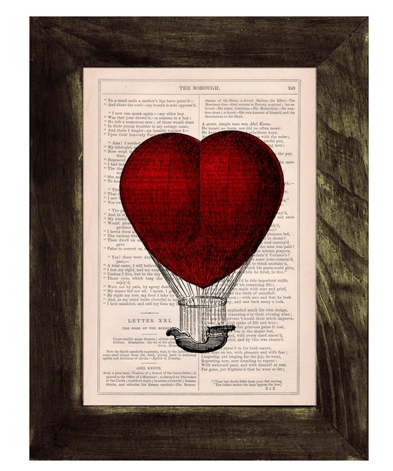 Christmas gifts for her Book print Love Hot air Balloon   Print on Vintage Book - mixed media art TVH092