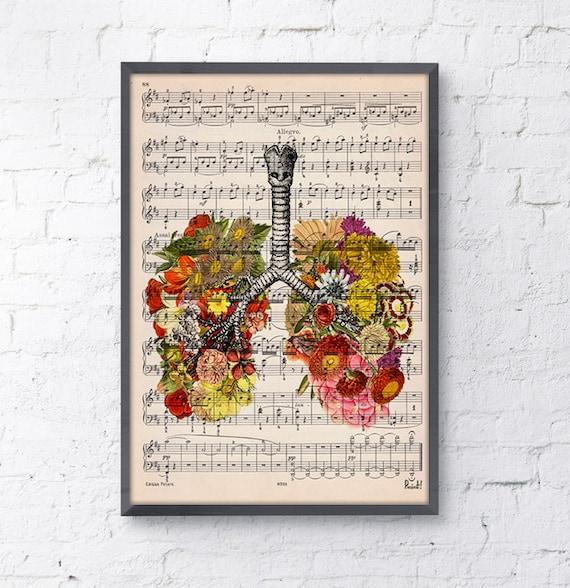 Lungs with flowers over music sheet Love gift aniversary gift, Music student gift, Girlfriend gift, music sheet SKA062MSL